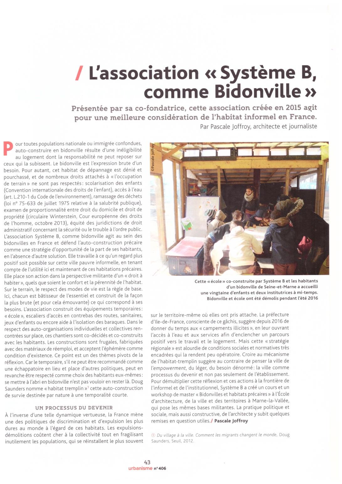 article SystèmeB - Urbanisme n°406